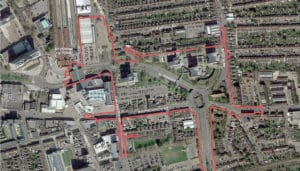 Aerial view photo showing the area affected by the Better Queensway regeneration